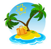 Summer vacations. Cartoon island with suitcase and palm trees Royalty Free Stock Photography