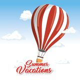 Summer vacations design. Floating air balloon surrounded by clouds and summer vacations sign over white and blue background. Vector illustration Royalty Free Stock Photography
