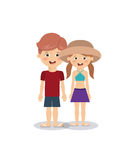 Summer vacations in family design Stock Images