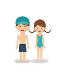 Summer vacations in family design Royalty Free Stock Photo