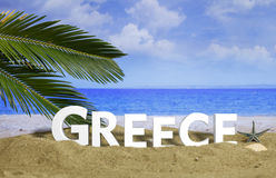 Summer vacations in Greece. 3d illustration. Summer vacations in Greece - Sandy beach on blue sky and sea background. 3d illustration Royalty Free Stock Image