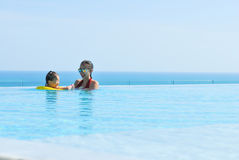 Summer vacations Happy mother and daughter playing Royalty Free Stock Photos