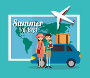 Summer vacations holiday poster. Vector illustration design Royalty Free Stock Photos