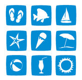 Summer vacations icon set. In blue color Stock Photography