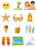 Summer vacations icons Stock Photos