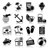Summer vacations icons with reflection. Icons with reflection set: Summer vacations Royalty Free Stock Photo