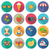 Summer and vacations icons set Stock Photography