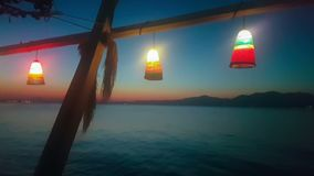 Summer vacations at Kalamos in Greece. Sea night view with lights. stock video