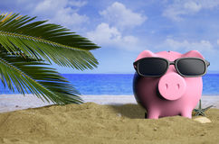 Summer vacations - Piggy bank on a sandy beach. 3d illustration Stock Photography