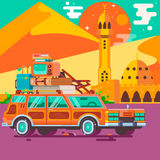 Summer vacations.Travel by car. Tourism and vacation theme. Royalty Free Stock Images