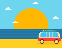 Summer vacations travel concept banner. With van and tropical beach landscape Royalty Free Stock Photo