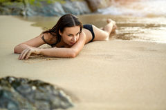 Summer Vacations. Woman Lying On Beach. Healthy Lifestyle. Trave Royalty Free Stock Image