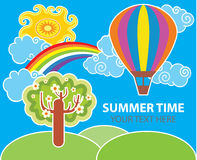 Summer vector background. Summer colorful vector background with hot air balloon Royalty Free Stock Images