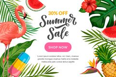 Summer vector background with flamingo, tropical leaves, hand drawn calligraphy. Sale banner, poster design template royalty free illustration