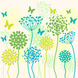 Summer vector background with flowers and butterflies Stock Photos