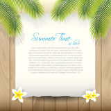 Summer Vector Background with Paper under Palm tre Stock Photography