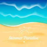 Summer vector background with sea view. Royalty Free Stock Photo