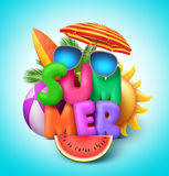 Summer vector banner design with colorful text with elements Royalty Free Stock Photos