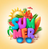 Summer vector banner design with 3d colorful summer text Stock Photos