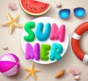 Summer vector banner design. Summer text with colorful elements Stock Images