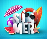Summer vector banner design with white 3D text title and colorful realistic tropical beach elements. In blue pattern background for summer holiday season Royalty Free Stock Photos