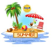 Summer vector banner with palm tree, umbrella and fresh drinks Royalty Free Illustration