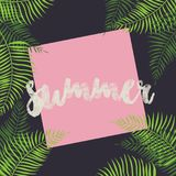 Summer - vector card eps10. Summer - vector card with palm trees and pink background - eps10 Stock Photography