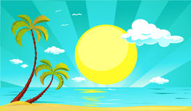 Summer vector design with sun, palm tree, beach and sea - vector Royalty Free Stock Photography