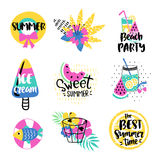 Summer vector elements collection Stock Photo