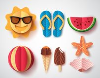 Summer vector elements set with paper cut flat folding style of sun. Flipflops ice cream, watermelon and starfish isolated in white background. Vector royalty free illustration