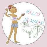 Summer Vector Greeting Card With Cute Girl. Royalty Free Stock Images
