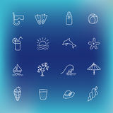 Summer vector icon set, hand drawn design element Royalty Free Stock Image