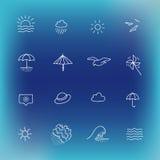 Summer vector icon set, hand drawn design element Royalty Free Stock Photos