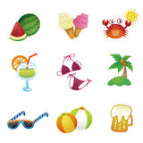 Summer vector icons Royalty Free Stock Photos