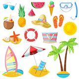 Summer vector icons and design elements isolated on white background. Travel, tourism and vacation illustration Royalty Free Illustration