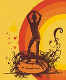 Summer vector illustration. A woman silhouette dancing on a summer background Royalty Free Stock Images