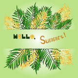 Summer vector illustration in green and gold colors. Royalty Free Stock Image