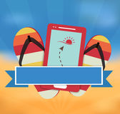 Summer vector illustration with mobile gps navigation Royalty Free Stock Images