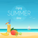 Summer vector illustration poster of cocktail and mango with sunglasses at seashore with enjoy summer time words. Summer vector illustration poster of cocktail Royalty Free Stock Photography