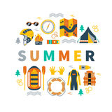 Summer vector illustration with rafting and camping equipment. Summer round vector illustration with rafting and camping equipment - vest, round-bouy, rafts Stock Photography