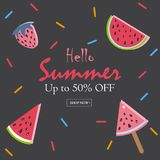 Summer Vector Illustration. Summer Sale Card. Up to 50% Off. Royalty Free Stock Photos