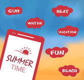 Summer vector illustration with smartphone Royalty Free Stock Image