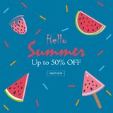 Summer Vector Illustration. Summer Sale Card. Up to 50% Off. Watermelon, ice cream, strawberry with rainbow sprinkles on modern brown Background. Summer Sale Stock Photo