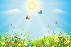 Summer vector landscape royalty free stock photo