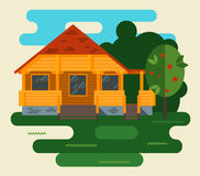 Summer Vector Landscape With House and Tree in Royalty Free Stock Image