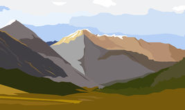 Summer vector landscape. Mountain landscape. Vector landscape. Landscape on the background of beautiful mountains. Bright, colorful background Stock Photography