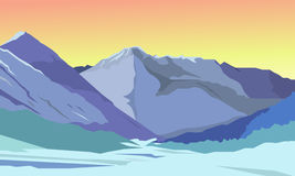 Summer vector landscape. Mountain landscape. Beautiful bright background Royalty Free Stock Photo