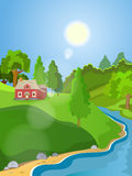 Summer vector landscape. Rural landscape. Green meadow stream. Clear skies and sunshine Stock Photos