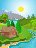 Summer vector landscape. Rural landscape. Green meadow stream. Clear skies and sunshine Royalty Free Stock Images