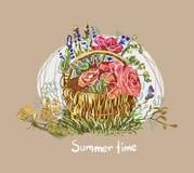 Summer vector paint style design flower colorful basket vector illustration